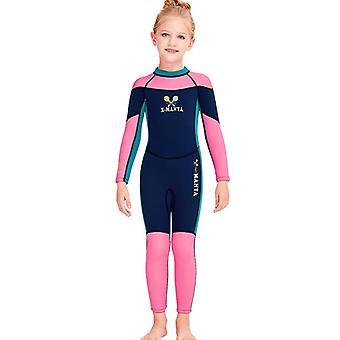 Παιδικό μακρύ μανίκι wetsuit ένα κομμάτι uv προστασία θερμικό μαγιό dfse-18