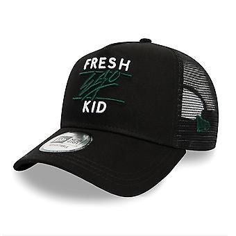 Fresh Ego Kid | Fek-584 New Era Mesh Trucker Cap - Black/green