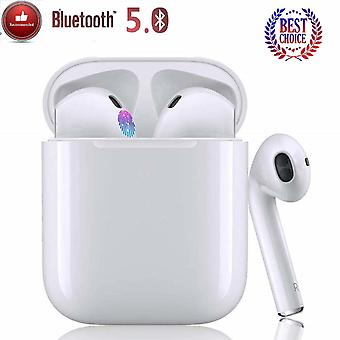 Wireless Touchscreen Bluetooth Headset, TWS i12 Waterproof IPX6 Bluetooth Headset Waterproof Bluetooth Headset Earphones with Microphone Headset with All Devices-White