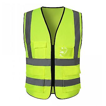 Highlight Reflective Vest Multi-pocket Traffic Road Night Work Security Clothing Vest High Visibility