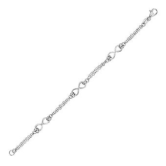 Sterling Silver Chain Bracelet with Infinity Symbol Stations