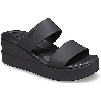 Crocs Womens Brookly Mid Wedge Slip On Slider Sandals