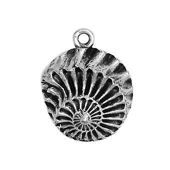 Final Sale - Metal Pendant, Nautilus Shell 21x28mm, Antiqued Silver, 1 Piece, by Nunn Design
