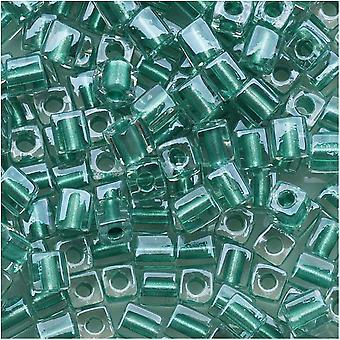 Miyuki 4mm Glaswürfel Perlen 'Metallic Teal Lined Crystal' #2605 10 Gramm
