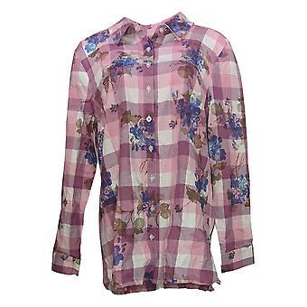 Denim & Co. Women's Top Yarn Dye Plaid Print Button-Front Purple A374641