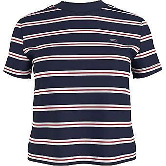 Tommy Jeans TJW Vanlig Kontrast Baby Tee T-Shirt, Twilight Navy, XS Kvinna