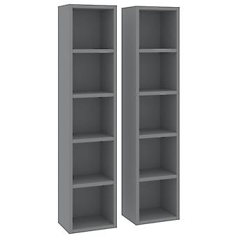 vidaXL CD shelves 2 pcs. grey 21x16x93.5 cm chipboard