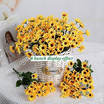Konstgjord Daisy Flower Bride och Bridesmaid Bouquet 7 Silk Daisies Diy Decoration Höstlandskap