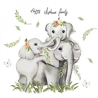 Hand Painted Elephant Wall Sticker Decal (size: 89cm X 85cm)