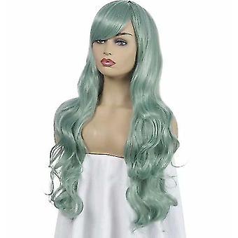 Tecknad cos lång lockig cosplay peruk (grön)