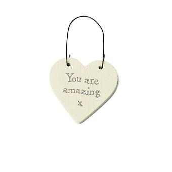 You Are Amazing - Mini Wooden Hanging Heart - Cracker Filler Gift