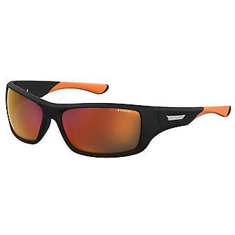 Polaroid suorakaiteen muotoiset urheilu aurinkolasit - musta/oranssi