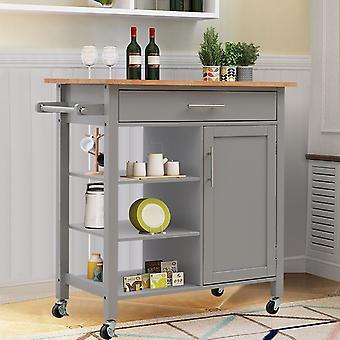 2 tiroirs 3 étagères Chariot de cuisine en bois
