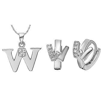 (W)  Alphabet Rhinestone Womens 26 Initial Letter Huggie Earrings Necklace Jewelry Set Silver