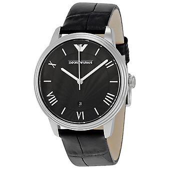 Emporio Armani AR1611 Classic Black Leather Strap Textured Dial Slim Watch