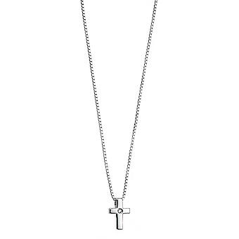 D pentru diamant 925 Sterling Silver for Children Diamond Cross Pendant Necklace, Christening, Holy Communion, with Chain of Length 35cm