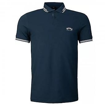 Boss Green Hugo Boss Paul Curved Logo Short Sleeve Polo Navy 427 50412675