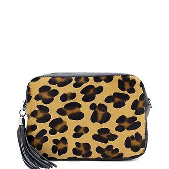 Cheveux imprimé léopard sur cuir Cuir Petit sac croisé