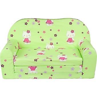 Divano letto per bambini e letto per gli ospiti in uno - 85cm x 60cm - Gatti verdi