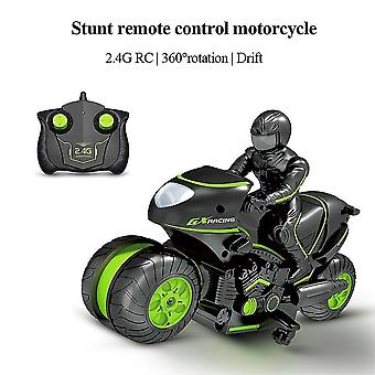Moto Radio télécommande Toy Cars Drift Motorbike Modèle Kit Cascade pour garçons (vert)
