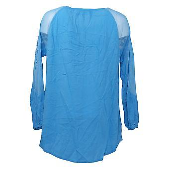 DG2 von Diane Gilman Damen Top Bestickt Sheer Shoulder Blue 654871
