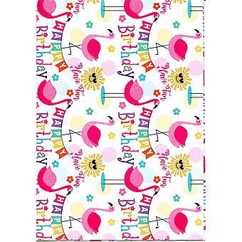 Children's Assorted Gift Wrap Sheets 50-70cm - Flamingo & Sunshine