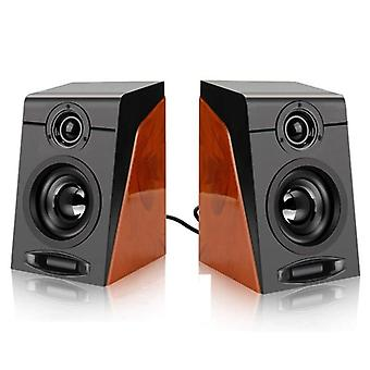 Computer Speakers With Surround Stereo USB Wired Powered  Phone|Subwoofer(Black + Wood Grain)