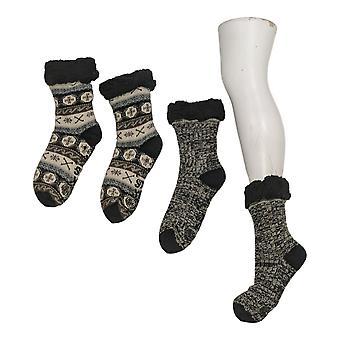 Muk Luks Women's 2 Pack Printed Cabin Sox Black Socks 673615