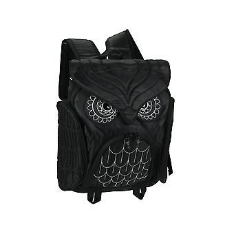Stor svart nylon mystisk uggla justerbar ryggsäck med broderade sömmar