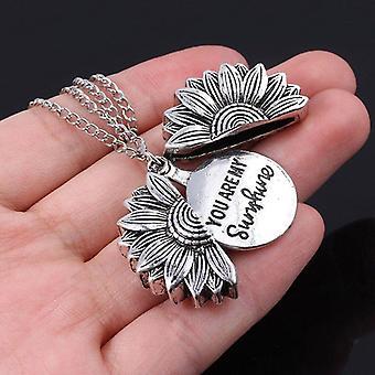 Du är min solsken blomma halsband öppen medaljong / halsband