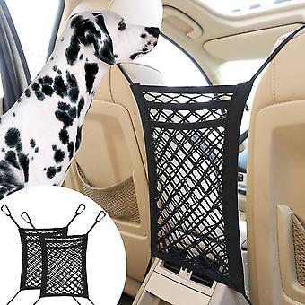 Dog Car Net Barrier Safe Drive Disturb Stopper Back Seat Net Storage Pouch
