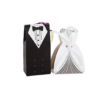 Version 50 Bride 50 Groom 100 Pieces Creative Bride And Groom Candy Box For Wedding Sweet Bag Guest Gift Favors