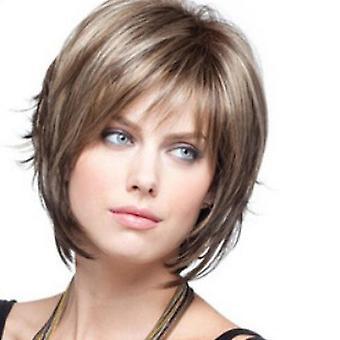 Perruques de cheveux blonds courts avec frange cheveux ondulés Perruques de cheveux synthétiques résistants à la chaleur pour