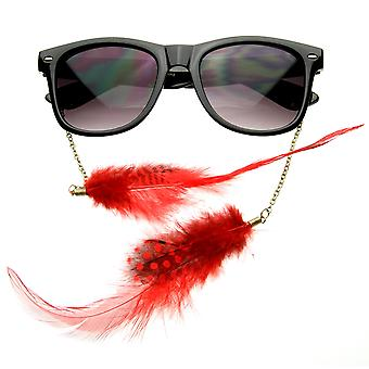 Hippie mujer cuerno con montura gafas-Joyería encadenada plumas gafas de sol
