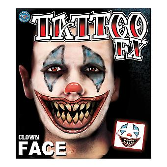 Clown Horror Joker Killer Circus Psycho Halloween Mens Costume Temporary Tattoo