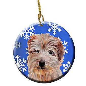 Norfolk Terrier Winter Snowflakes ornement céramique