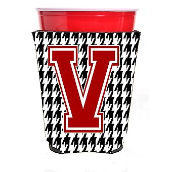 Monogramm - Houndstooth initiale V rot Solo Cup Getränk Isolator Hugger