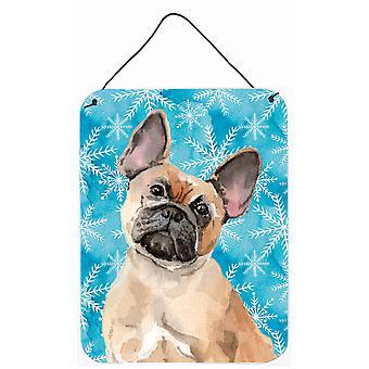 Fawn französische Bulldogge Winter Wand oder Tür hängen Drucke