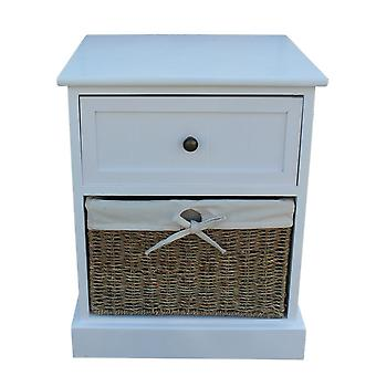 Single Drawer Wooden White Bedside Cabinet