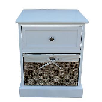 Single Drawer Wooden White Bedside Cabinet