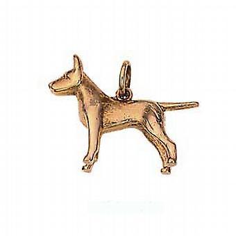 9ct Złota 19x25mm Staffordshire Bull terrier wisiorek lub urok