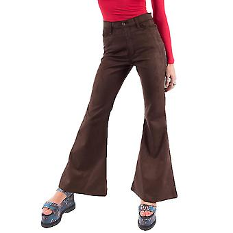 70s Style Scuba Suede Bell-Bottoms Wide Retro Flares