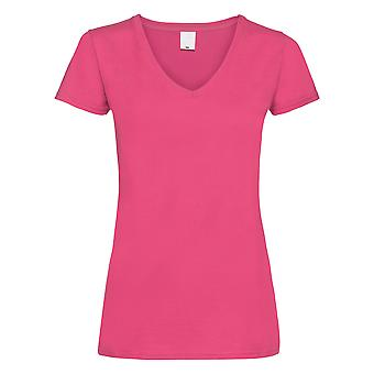 Womens/Ladies Value Fitted V-Neck Short Sleeve Casual T-Shirt