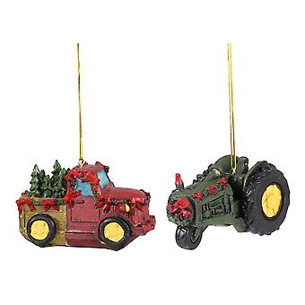 Red Farm Truck with Trees and Green Tractor Christmas Holiday Ornaments Set of 2