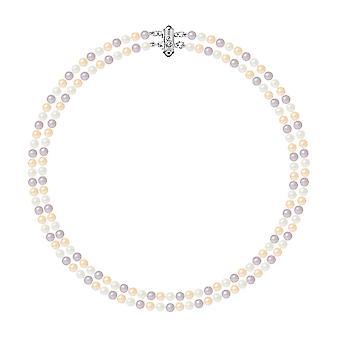 2 rader av pärlor av sötvatten Multicolor halsband