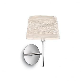 Ideal Lux Single Matt White Wandleuchte mit weißen geflochtenen Schatten