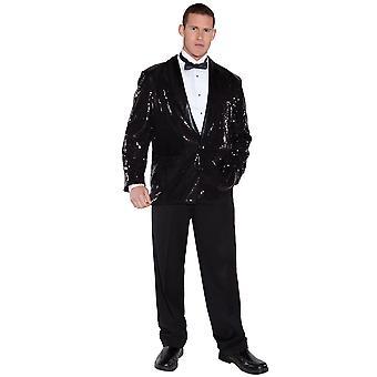 Sequin Black Jacket Michael Jackson 1950s 1970s Disco Pimp Jazz Men Costume OS