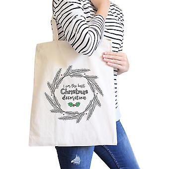Best Christmas Decoration Wreath Cute Canvas Tote For Holiday Gifts