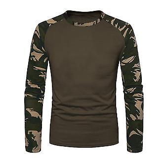 Mens Long Sleeve Shirt Camouflage pull Raglan impression Camouflage militaire armée