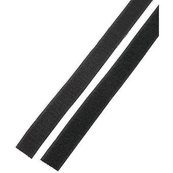 Basetech STD-LH25/1M Hook-and-loop tape stick-on Hook and loop pad (L x W) 1000 mm x 25 mm Black 1 Pair